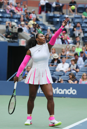 grand hard: NEW YORK - SEPTEMBER 5, 2016: Grand Slam champion Serena Williams of United States in action during her round four match at US Open 2016 at Billie Jean King National Tennis Center in New York Editorial