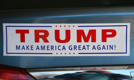 BROOKLYN, NEW YORK - NOVEMBER 13, 2016: Bumper sticker in support of presidential candidate Donald Trump on display in Brooklyn, New York after Election Day 2016