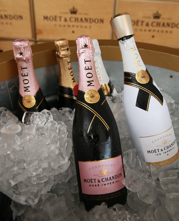 tournament of roses: NEW YORK - SEPTEMBER 3, 2016: Moet and Chandon champagne presented at the National Tennis Center during US Open 2016 in New York. Moet and Chandon is the official champagne of the US Open