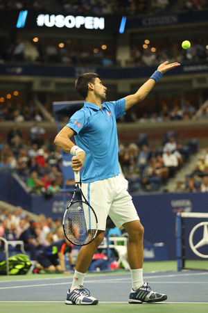 billie: NEW YORK- SEPTEMBER 6, 2016: Twelve times Grand Slam champion Novak Djokovic of Serbia in action during his quarterfinal match at US Open 2016 at Billie Jean King National Tennis Center in New York Editorial