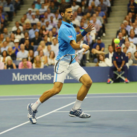 grand hard: NEW YORK- SEPTEMBER 6, 2016: Twelve times Grand Slam champion Novak Djokovic of Serbia in action during his quarterfinal match at US Open 2016 at Billie Jean King National Tennis Center in New York Editorial