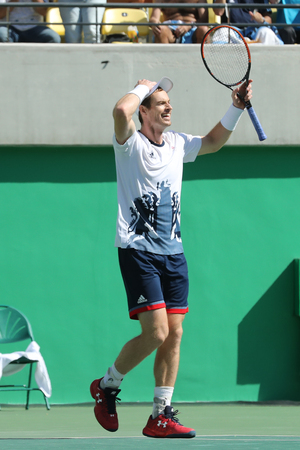 RIO DE JANEIRO, BRAZIL - AUGUST 13, 2016: Olympic champion Andy Murray of Great Britain celebrates victory after mens singles semifinal of the Rio 2016 Olympic Games at the Olympic Tennis Centre