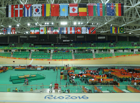the olympic rings: RIO DE JANEIRO, BRAZIL - AUGUST 13, 2016: Inside of the Rio Olympic Velodrome located in the Barra Olympic Park in Rio de Janeiro