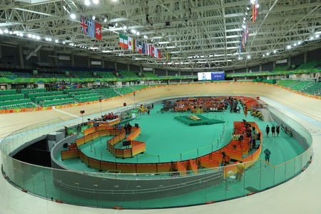 RIO DE JANEIRO, BRAZIL - AUGUST 13, 2016: Inside of the Rio Olympic Velodrome located in the Barra Olympic Park in Rio de Janeiro