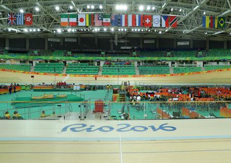 velodrome: RIO DE JANEIRO, BRAZIL - AUGUST 13, 2016: Inside of the Rio Olympic Velodrome located in the Barra Olympic Park in Rio de Janeiro