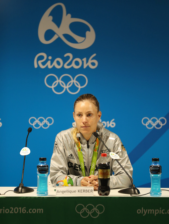summer olympics: RIO DE JANEIRO, BRAZIL - AUGUST 13, 2016: Silver medalist Angelique Kerber of Germany during press conference after tennis womens singles final of the Rio 2016 Olympic Games
