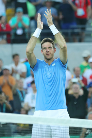 RIO DE JANEIRO, BRAZIL - AUGUST 13, 2016: Juan Martin Del Potro of Argentina celebrates victory after mens singles semifinal match of the Rio 2016 Olympic Games at Olympic Tennis Centre