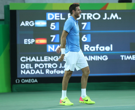 summer olympics: RIO DE JANEIRO, BRAZIL - AUGUST 13, 2016: Juan Martin Del Potro of Argentina celebrates victory after mens singles semifinal match of the Rio 2016 Olympic Games at Olympic Tennis Centre
