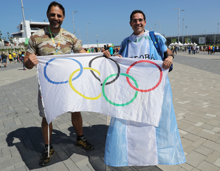 summer olympics: RIO DE JANEIRO, BRAZIL - AUGUST 14, 2016: Argentinian fans support Grand Slam champion Juan Martin Del Potro of Argentina before mens singles final of the Rio 2016 Olympic Games Editorial