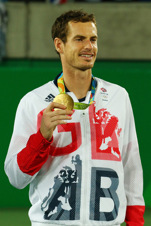 RIO DE JANEIRO, BRAZIL - AUGUST 14, 2016: Olympic champion Andy Murray of Great Britain during tennis mens singles medal ceremony of the Rio 2016 Olympic Games at the Olympic Tennis Centre Editorial