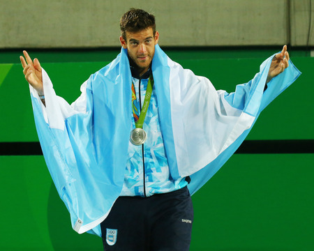 RIO DE JANEIRO, BRAZIL - AUGUST 14, 2016: Silver medalist Juan Martin Del Potro of Argentina during tennis mens singles medal ceremony of the Rio 2016 Olympic Games at the Olympic Tennis Centre Editorial