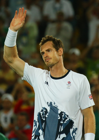RIO DE JANEIRO, BRAZIL - AUGUST 14, 2016: Olympic champion Andy Murray of Great Britain celebrates victory after tennis mens singles final of the Rio 2016 Olympic Games at the Olympic Tennis Centre Editorial