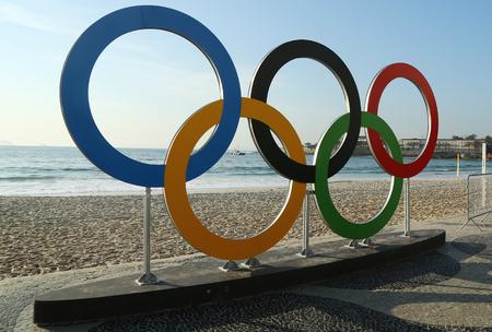 olympic sports: RIO DE JANEIRO, BRAZIL -  AUGUST 6, 2016: Olympic Rings at Copacabana Beach in Rio de Janeiro