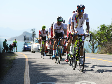 road cycling: RIO DE JANEIRO, BRAZIL - AUGUST 6, 2016: Cyclists ride during Rio 2016 Olympic Cycling Road competition of the Rio 2016 Olympic Games in Rio de Janeiro