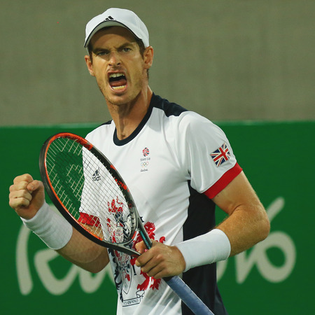 world championships: RIO DE JANEIRO, BRAZIL - AUGUST 14, 2016: Olympic champion Andy Murray of Great Britain in action during mens singles final of the Rio 2016 Olympic Games at the Olympic Tennis Centre
