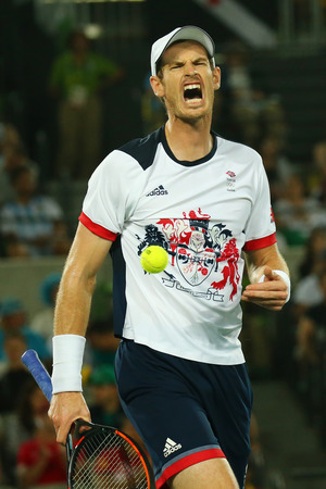 RIO DE JANEIRO, BRAZIL - AUGUST 14, 2016: Olympic champion Andy Murray of Great Britain in action during mens singles final of the Rio 2016 Olympic Games at the Olympic Tennis Centre
