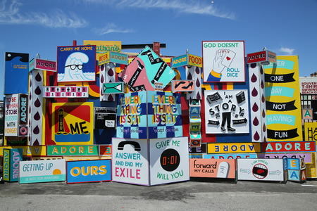 coney: NEW YORK - JUNE 14, 2016: Mural art at the Coney Art Walls in Coney Island section of Brooklyn Editorial