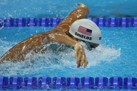 RIO DE JANEIRO, BRAZIL - AUGUST 8, 2016: Olympic champion Tom Shields of United States swims the Mens 200m butterfly Heat 2 of Rio 2016 Olympic Games at Olympic Aquatic Stadium