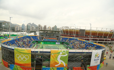 esther: RIO DE JANEIRO, BRAZIL - AUGUST 7, 2016: Tennis Show Court 2 (front) and main tennis venue Maria Esther Bueno Court (back) of the Rio 2016 Olympic Games at the Olympic Tennis Centre