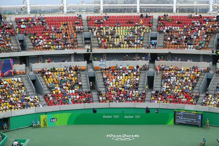 olympic sports: RIO DE JANEIRO, BRAZIL - AUGUST 7, 2016: Main tennis venue Maria Esther Bueno Court of the Rio 2016 Olympic Games at the Olympic Tennis Centre
