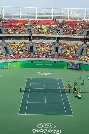esther: RIO DE JANEIRO, BRAZIL - AUGUST 7, 2016: Main tennis venue Maria Esther Bueno Court of the Rio 2016 Olympic Games at the Olympic Tennis Centre