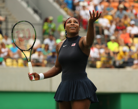 RIO DE JANEIRO, BRAZIL - AUGUST 7, 2016: Olympic champion Serena Williams of United States in action during singles first round match of the Rio 2016 Olympic Games at the Olympic Tennis Centre Editorial