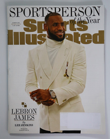 BROOKLYN, NEW YORK - DECEMBER 18, 2016: Sports Illustrated magazine Sportsperson of the Year 2016 issue with Lebron James on display in Brooklyn, New York Redakční