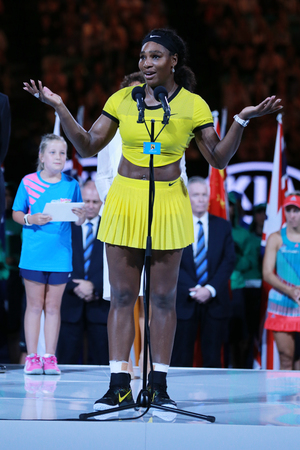 finalist: MELBOURNE, AUSTRALIA - JANUARY 30, 2016: Australian Open 2016 finalist Serena Williams of United States during trophy presentation after her final match in Melbourne Park