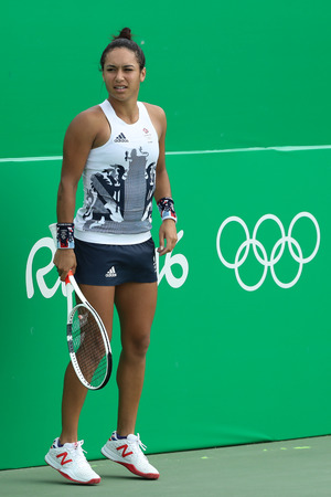 RIO DE JANEIRO, BRAZIL - AUGUST 8, 2016: Tennis player Heather Watson of Great Britain in action during singles second round match of the Rio 2016 Olympic Games at the Olympic Tennis Centre Editorial