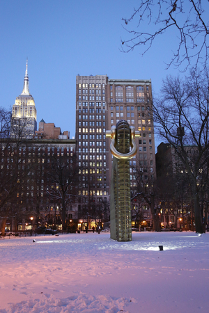 NEW YORK - JANUARY 8, 2017: Big Bling public sculpture by American artist Martin Puryear in Madison Square Park