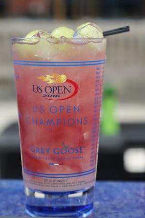 us open: NEW YORK - SEPTEMBER 5, 2016: US Open signature Grey Goose Honey Deuce Cocktail presented at the National Tennis Center during US Open 2016 in New York.