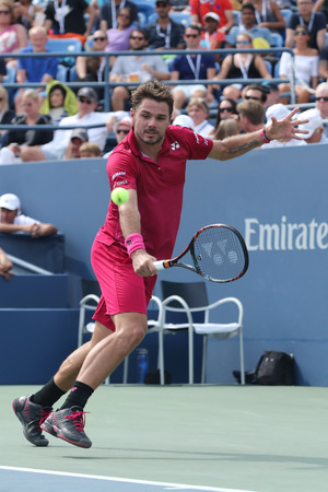 grand hard: NEW YORK - SEPTEMBER 5, 2016: Grand Slam champion Stanislas Wawrinka of Switzerland in action during his round four match at US Open 2016 at Billie Jean King National Tennis Center in NY