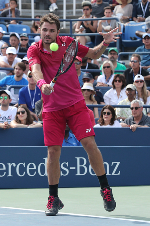 billie: NEW YORK - SEPTEMBER 5, 2016: Grand Slam champion Stanislas Wawrinka of Switzerland in action during his round four match at US Open 2016 at Billie Jean King National Tennis Center in NY