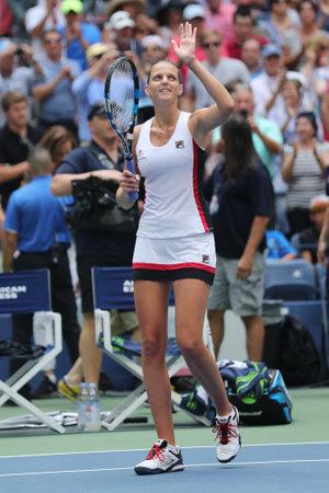 grand hard: NEW YORK - SEPTEMBER 5, 2016: Professional tennis player Karolina Pliskova of Czech Republic celebrates victory after her round four match at US Open 2016 at Billie Jean King National Tennis Center