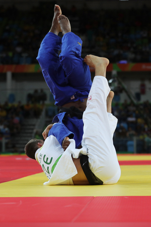 Olympic champion Czech Republic Judoka Lukas Krpalek in white after victory against Jorge Fonseca of Portugal