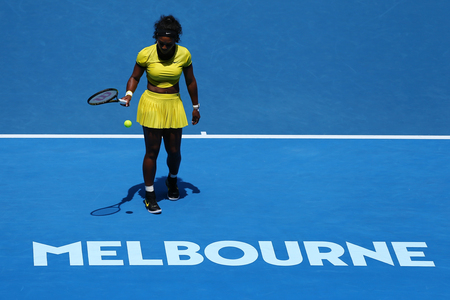 MELBOURNE, AUSTRALIA - JANUARY 26, 2016: Twenty one times Grand Slam champion Serena Williams in action during her quarter final match at Australian Open 2016 at Australian tennis center in Melbourne