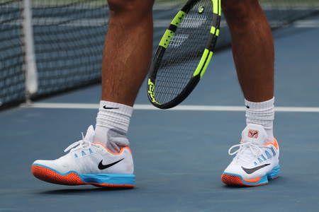 NEW YORK - SEPTEMBER 3, 2016: Grand Slam champion Rafael Nadal of Spain wears custom Nike tennis shoes during practice for US Open 2016 at Billie Jean King National Tennis Center