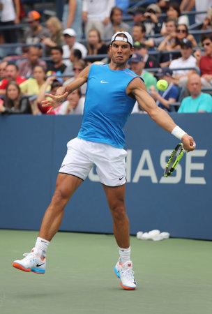 billie: NEW YORK - SEPTEMBER 3, 2016: Grand Slam champion Rafael Nadal of Spain in practice for US Open 2016 at Billie Jean King National Tennis Center
