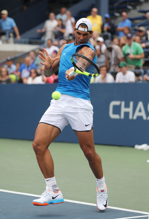 us open: NEW YORK - SEPTEMBER 3, 2016: Grand Slam champion Rafael Nadal of Spain in practice for US Open 2016 at Billie Jean King National Tennis Center