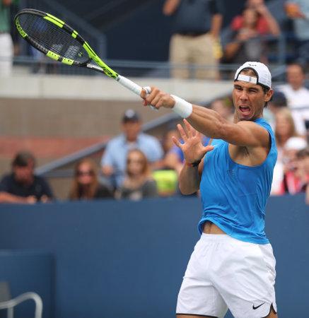 grand hard: NEW YORK - SEPTEMBER 3, 2016: Grand Slam champion Rafael Nadal of Spain in practice for US Open 2016 at Billie Jean King National Tennis Center
