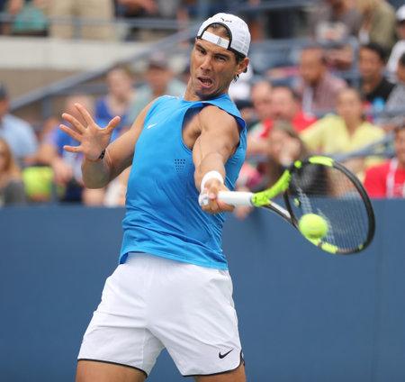 NEW YORK - SEPTEMBER 3, 2016: Grand Slam champion Rafael Nadal of Spain in practice for US Open 2016 at Billie Jean King National Tennis Center