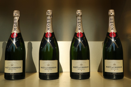 us open: NEW YORK - AUGUST 27, 2016: Moet and Chandon champagne presented at the National Tennis Center during US Open 2016 in New York. Moet and Chandon is the official champagne of the US Open Editorial