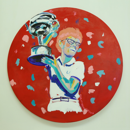 billie: NEW YORK - AUGUST 27, 2016: Billie Jean Kings acrylic painting by artist Bradley Theodore presented at Luis Armstrong Stadium during US Open 2016 at Billie Jean King National Tennis Center Editorial