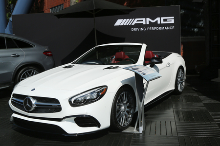 us open: NEW YORK - SEPTEMBER 4, 2016: Mercedes-Benz AMG  on display at National Tennis Center during US Open 2016 in New York . Mercedes-Benz is the sponsor and Official Vehicle of the US Open