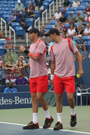 NEW YORK -SEPTEMBER 6, 2016: Grand Slam champions Mike and Bob Bryan in action during US Open 2016 quarterfinal doubles match at Billie Jean King National Tennis Center in New York Editorial