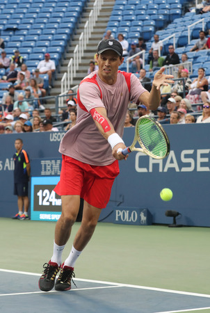 NEW YORK -SEPTEMBER 6, 2016: Grand Slam champion Mike Bryan in action during US Open 2016 quarterfinal doubles match at Billie Jean King National Tennis Center in New York