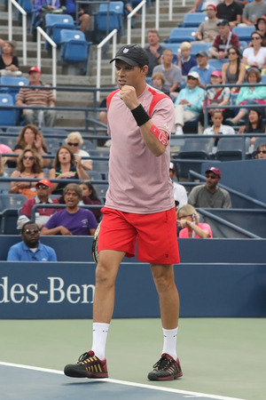 billie: NEW YORK -SEPTEMBER 6, 2016: Grand Slam champion Mike Bryan in action during US Open 2016 quarterfinal doubles match at Billie Jean King National Tennis Center in New York