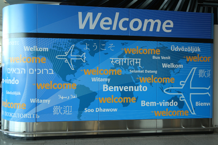 jfk: NEW YORK-  FEBRUARY 2, 2017: Welcome sign inside of Delta Airline Terminal 4 at JFK International Airport in New York. JFK is one of the biggest airports in the world with 4 runways and 8 terminals
