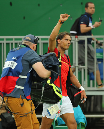 RIO DE JANEIRO, BRAZIL - AUGUST 7, 2016: Olympic champion Rafael Nadal of Spain celebrates victory after mens singles first round match of the Rio 2016 Olympic Games at the Olympic Tennis Centre