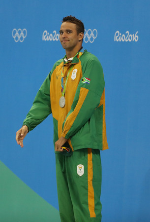 RIO DE JANEIRO, BRAZIL - AUGUST 8, 2016: Silver medalist Chad le Clos of South Africa during medal ceremony after Mens 200m freestyle of the Rio 2016 Olympics at Olympic Aquatic Stadium Editorial